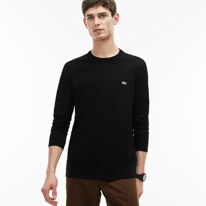 7755611c1c117 Lacoste Men s Crew Neck Pima Cotton Jersey T-Shirt In Black