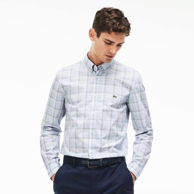 2d5ee3743f Men's Slim Fit Wide Check Poplin Shirt in Phoenix Blue