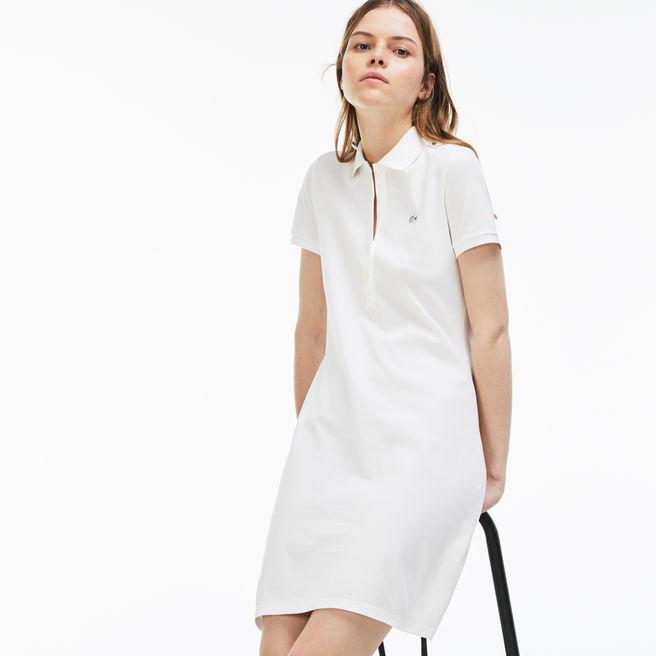 172431014 Lacoste Women s Stretch Cotton Mini PiquÉ Polo Dress In White