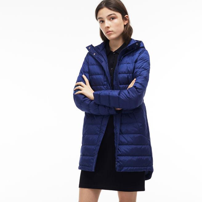 85a36588 Women's Long Hooded Quilted Down Jacket in Methylene