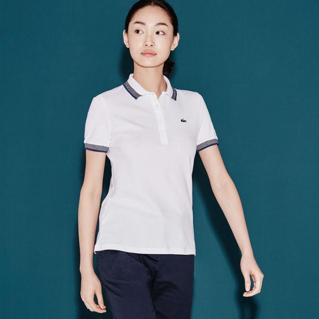 659ca8aad087 Lacoste Women s Sport Golf Contrast Accent Stretch Mini PiquÉ Polo In White Mouline  Navy Blue