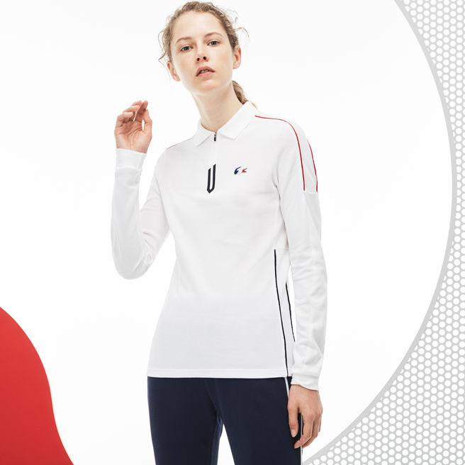 2798fd10 Women's French Sporting Spirit Edition Thick Piqué Polo in White / Navy  Blue / Red