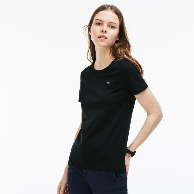 80055e5f8d Women's Crew Neck Flowing Cotton Jersey T-Shirt in Black