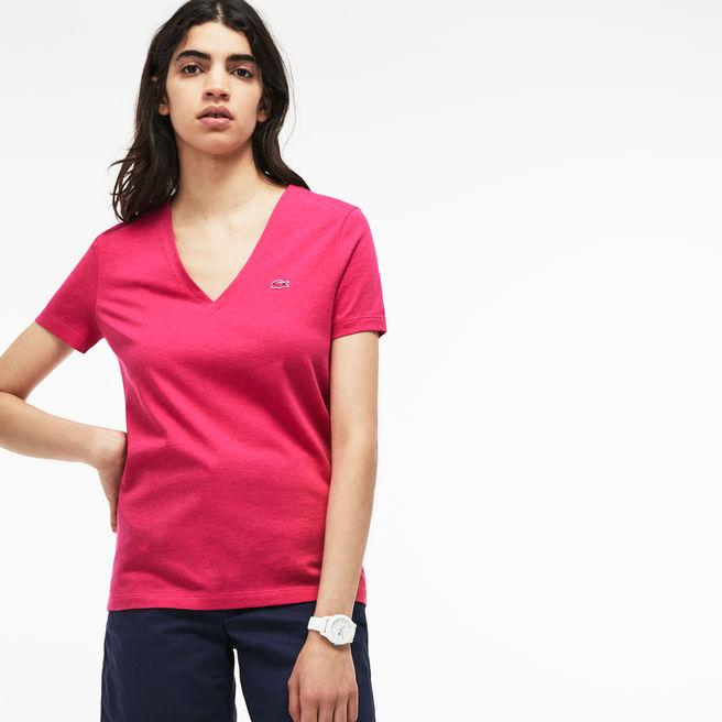bb4ef5bb16ae Lacoste Women's Slim Fit V-Neck Cotton Jersey T-Shirt In Pink | ModeSens