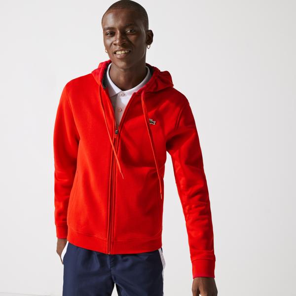 Lacoste Men's Sport Full-zip Fleece Hoodie In Red,grey Chine