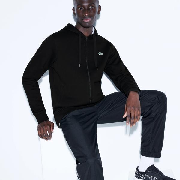 Lacoste Men's Sport Full-zip Fleece Hoodie In Black