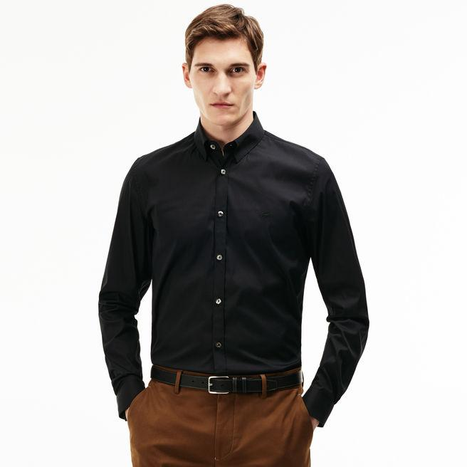 cc6709ed8f Men's Slim Fit Stretch Cotton Poplin Shirt in Black