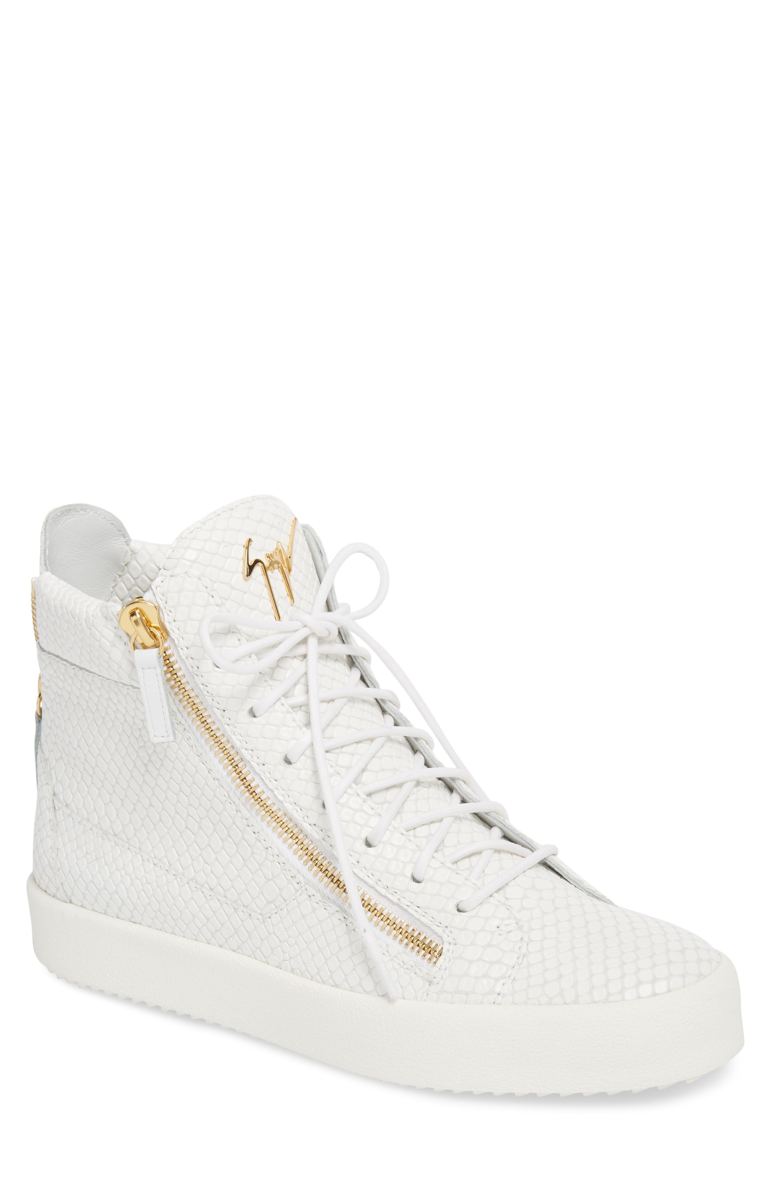 71e2d93a4455 Giuseppe Zanotti Snake Embossed High Top Sneaker In Bianco