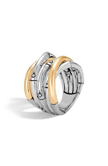 John Hardy Bamboo Gold Sterling Silver Ring In Silver/ Gold