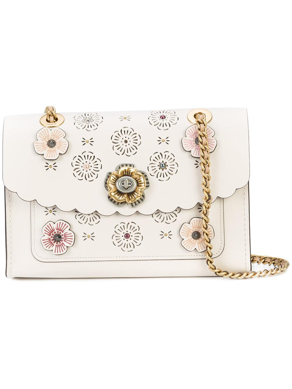 Coach Tea Rose Parker Shoulder Bag - White