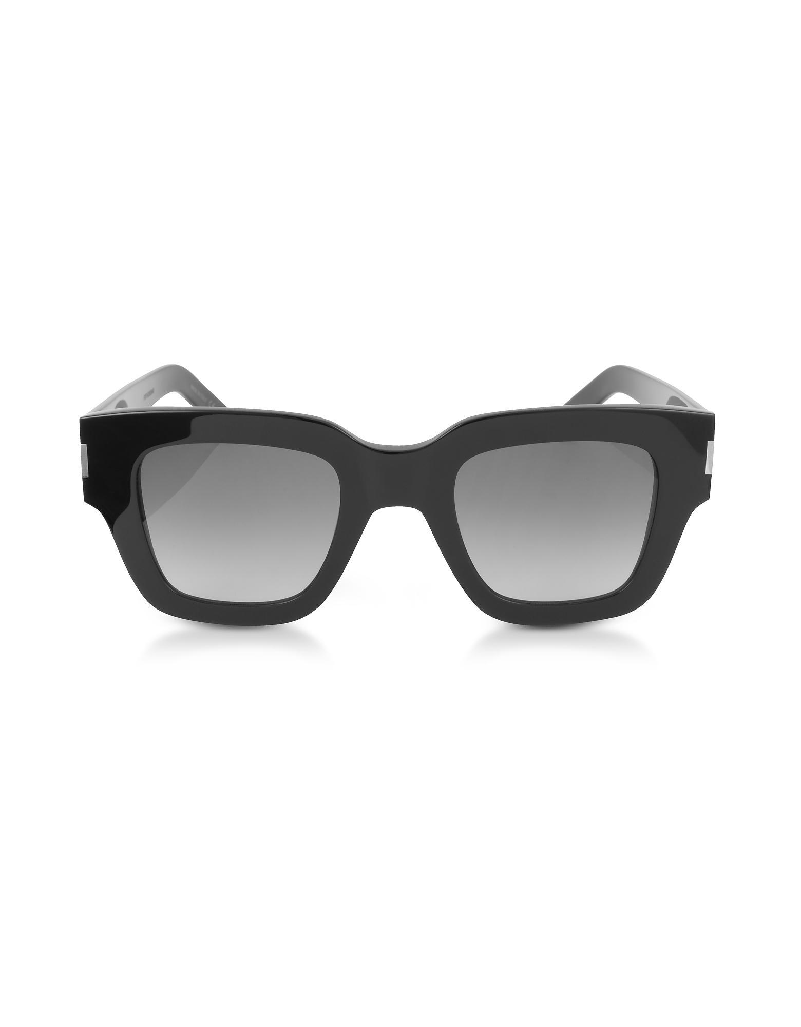 Saint Laurent Sl 184 Slim Squared Acetate Sunglasses In Black/Gray