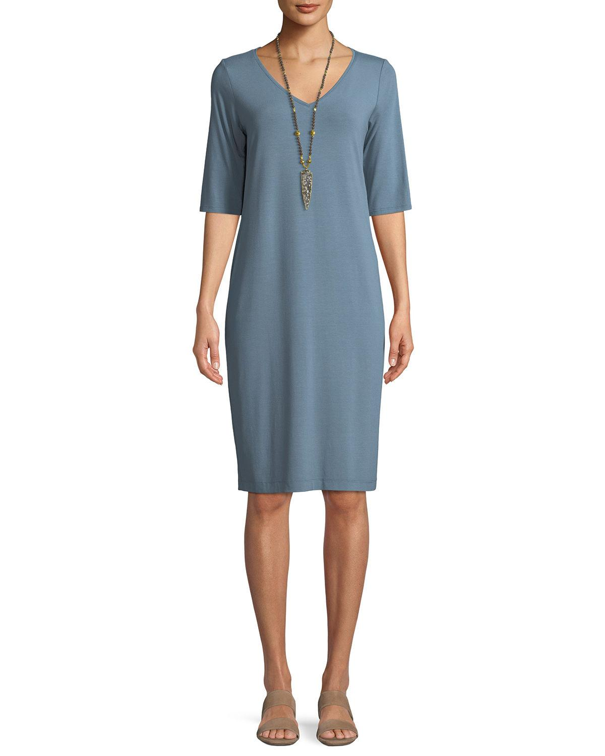 995f227458d6a A face-flattering V-neckline begins this elegantly simple and easy shift of  fluid stretch jersey in a rich selection of colors. Style Name  Eileen  Fisher ...