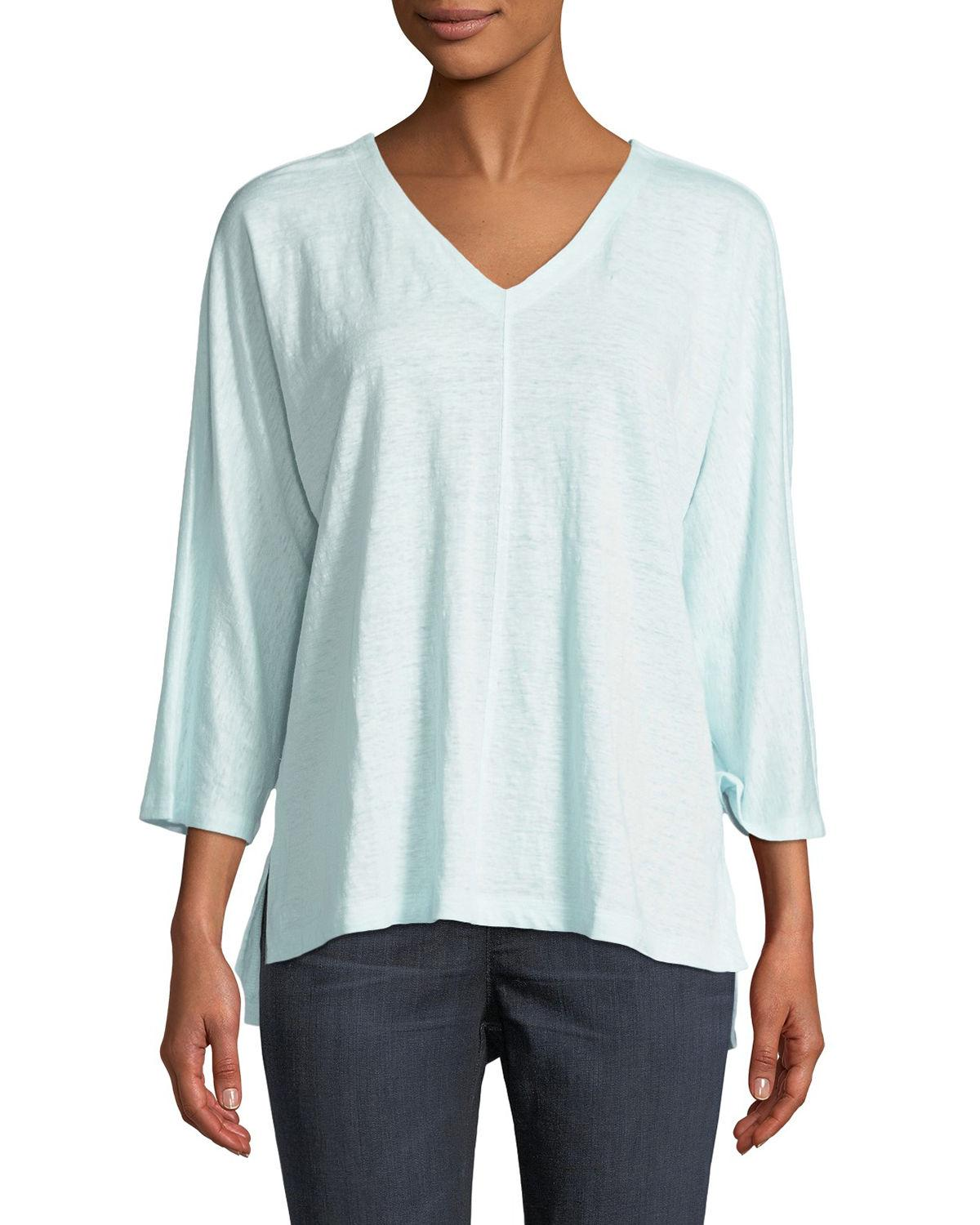 Eileen Fisher Linen Jersey V-Neck Top, Plus Size In Pool