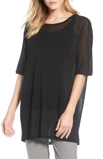 Eileen Fisher Silk Knit Top In Black
