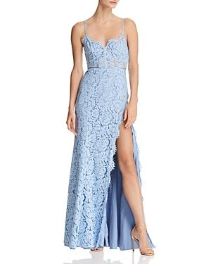 Fame And Partners The Kirsten Lace Bustier Gown In Candy Blue