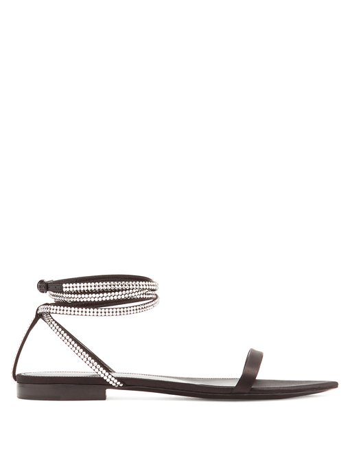 f388d122fbc3 Saint Laurent - Tower Crystal Embellished Satin Sandals - Womens - Black