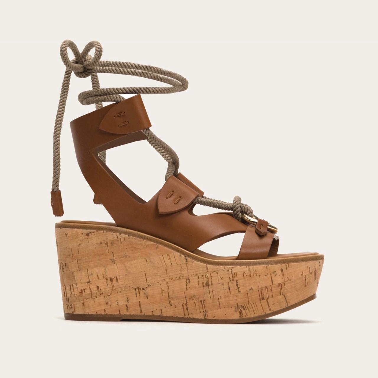 aafc7941a62 Dahlia Robe Wedge Sandals in Cognac