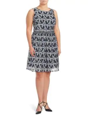 Julia Jordan Plus Printed Fit & Flare Dress In Navy/ivory