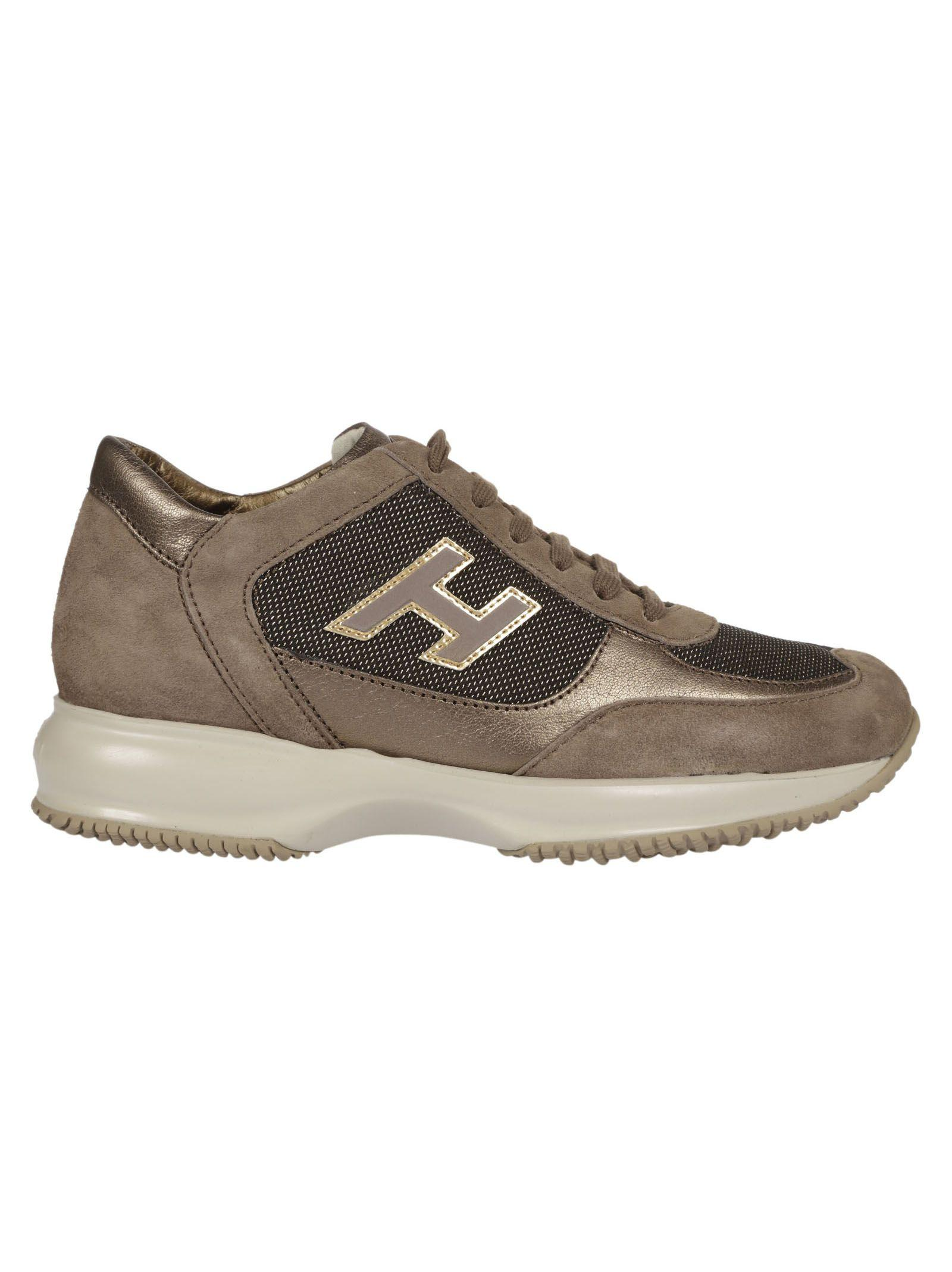 07e693b408b Hogan Women's Shoes Suede Trainers Sneakers Interactive H Flock In Brown