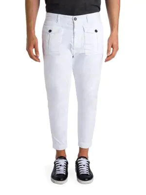 Dsquared2 Cropped Cotton Cargo Pants In White