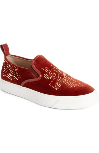 c3c27d63 'Ivy' Studded Slip-On Sneaker (Women) in Burgundy Suede