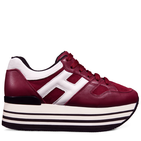 d7cfb604994430 Hogan Suede And Leather Sneakers With Platform In Bordeaux White ...
