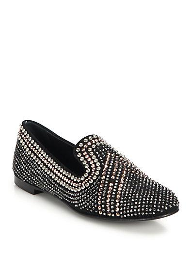 Giuseppe Zanotti Black Embellished Suede 'Dalila' Loafers'
