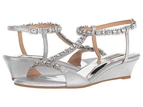 db21ea560d85 Badgley Mischka Terry Ii Embellished Wedge Sandals In Silver
