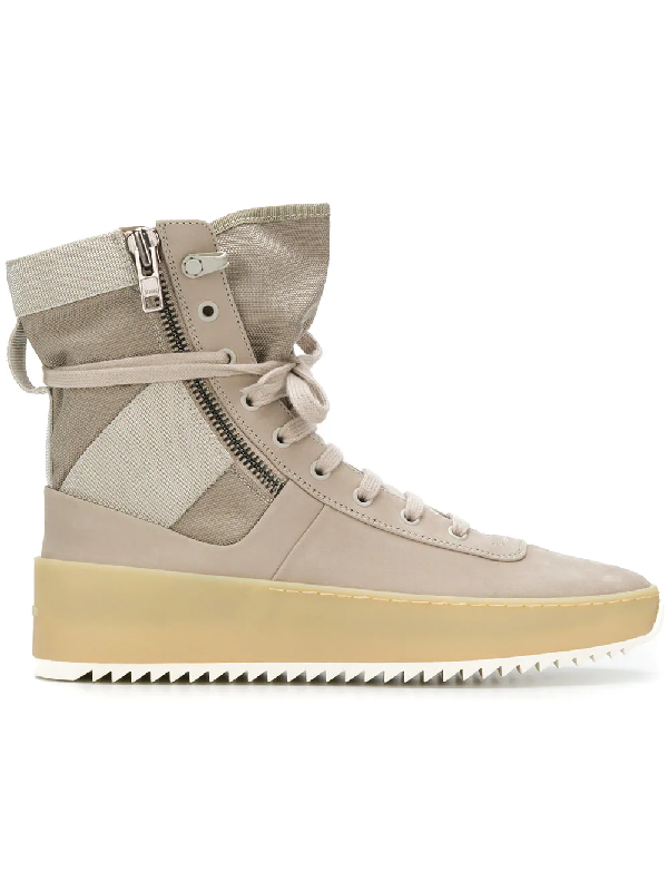 buy popular d2627 4f986 Fear Of God Military Nubuck And Mesh High-Top Sneakers - Gray In Neutrals