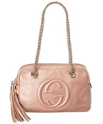 7fc117c4b90 Gucci Pink Metallic Leather Chain Soho Shoulder Bag In Nocolor ...