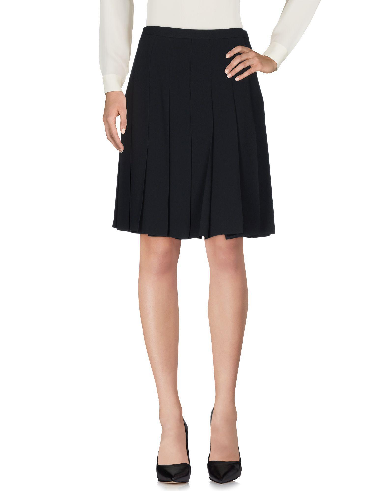 Miu Miu Knee Length Skirt In Dark Blue