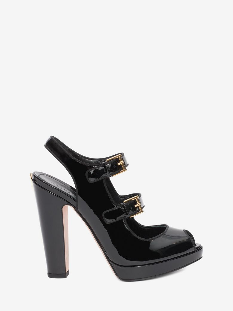 Alexander Mcqueen Double Buckle Patent-leather Heeled Sandals In Black