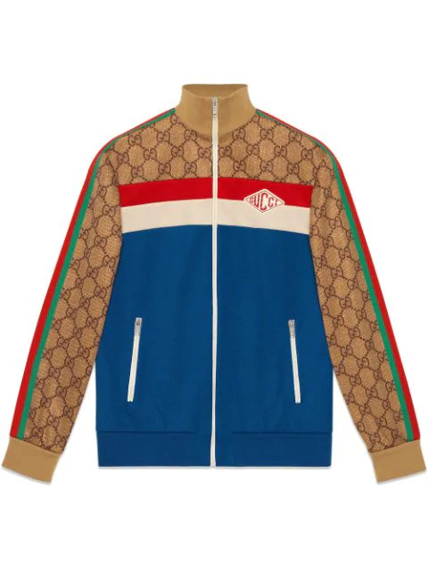 59872c1a5 Gucci Gg Technical Zip-Up Track Jacket, Blue Pattern | ModeSens