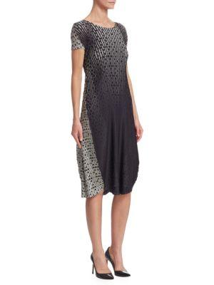 Issey Miyake Sunlight Dots Pleated Dress In Black