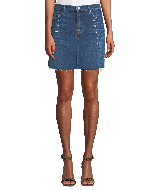 7 For All Mankind Frayed Denim Mini Skirt With Eyelets In Blue
