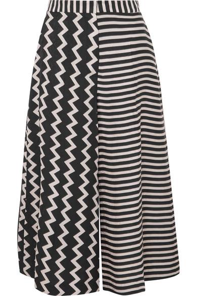 Stella Mccartney Zigzag & Stripe Mixed-Print Wide-Leg Silk Culotte In Black