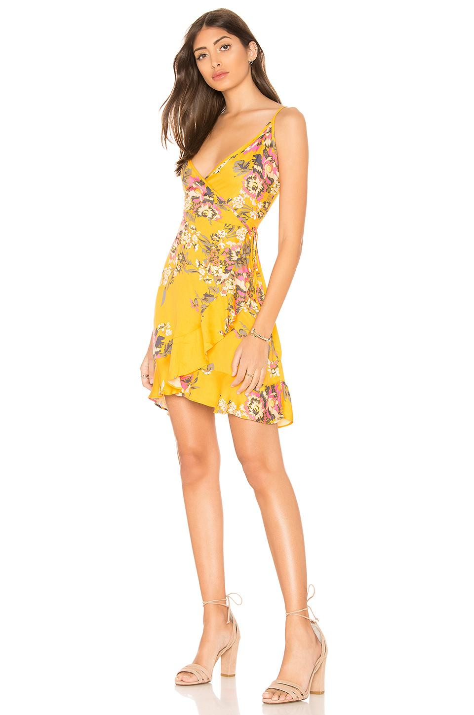 Minkpink Tokyo Wrap Dress In Yellow. In Multi