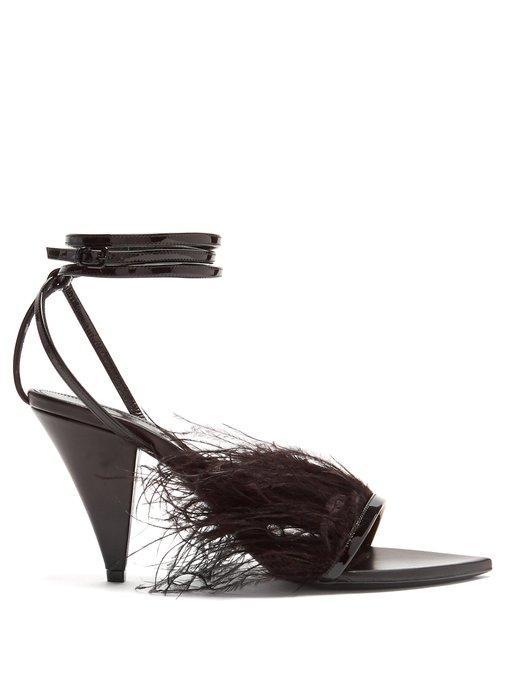 Saint Laurent Era Ostrich Feather-Embellished Leather Sandals In Black