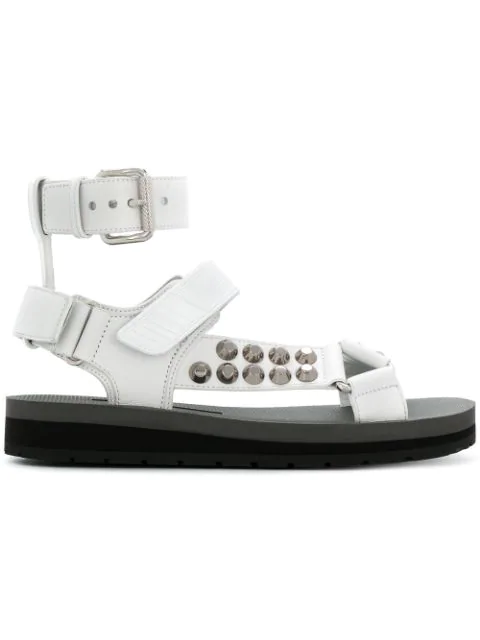 Prada Stud-Embellished Leather Sandals In White