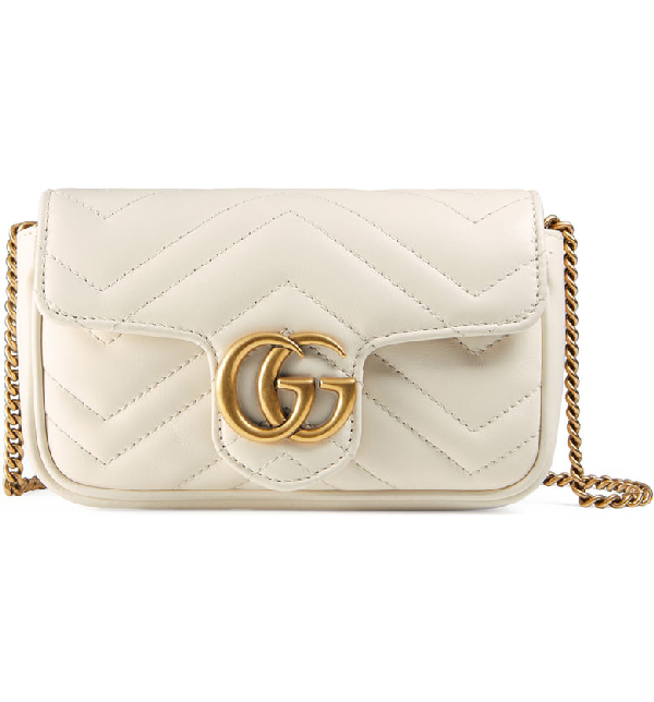 699368a54872 Gucci Supermini Gg Marmont 2.0 MatelassÉ Leather Shoulder Bag In Mystic  White