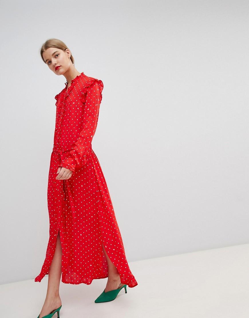 27bb5287241 Essentiel Antwerp Ruffle Midi Dress In Polka Dot - Red
