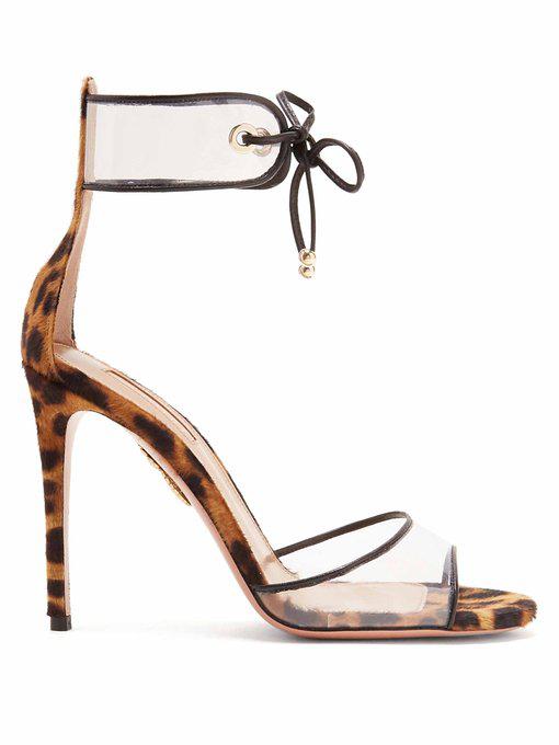 c7c6e2541ca0 Aquazzura Optic Leopard-Print Calf Hair Sandals In Tonal-Brown ...