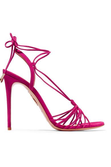 Aquazzura Whisper Lace-Up Suede Sandals In Fuchsia