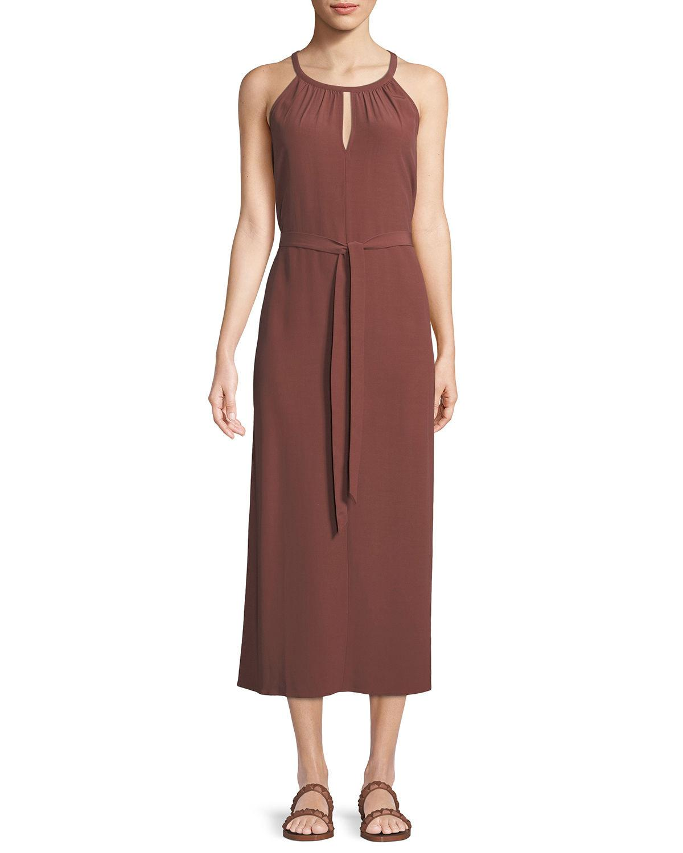 44805e2e43a2a Eileen Fisher Sleeveless Long Viscose Crepe Halter Dress
