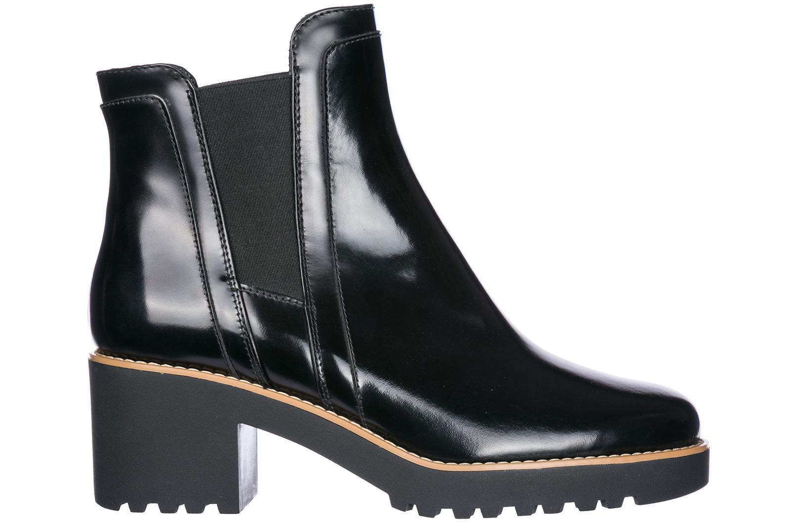 f7bf59fe18 Hogan Damen Leder Stiefeletten Stiefel Ankle Boots Mit Absatz H277 In Black