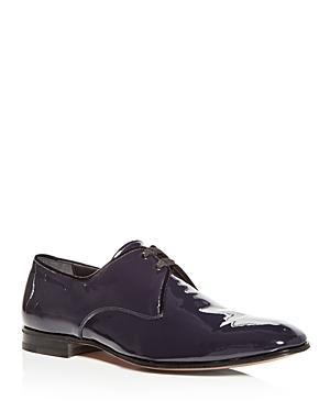 Salvatore Ferragamo Men's Broadway Patent Leather Plain-Toe Oxfords In Blue