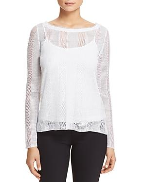 Eileen Fisher Organic-Linen Sheer Boat-Neck Top In White