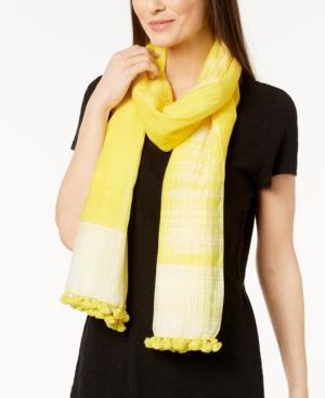 Eileen Fisher Organic Cotton & Silk Pom-Pom Scarf In Yarrow