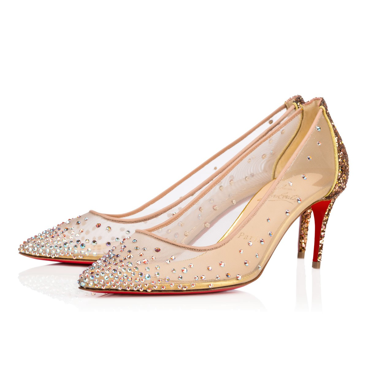4600428c4f6c Christian Louboutin Follies Strass 70 Version Gold Strass - Women Shoes -