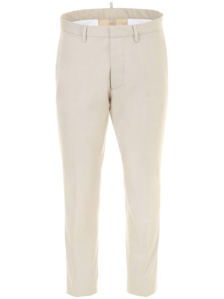 Dsquared2 Cotton Trousers In Stone